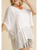 White Cuffed 1/2 Sleeve Layered Tunic