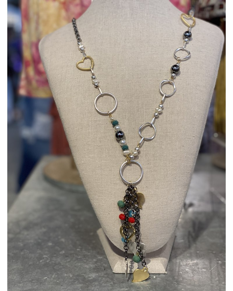 Charcoal Gray Beads Silver and Gold Necklace