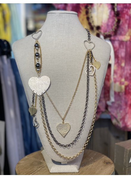 Heart Silver and Gold Necklace