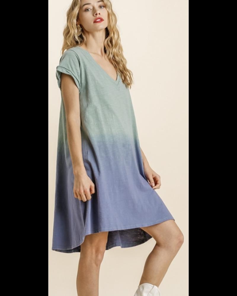 Dip Dye V-Neck Short Sleeve Raw Edged Detailed Dress