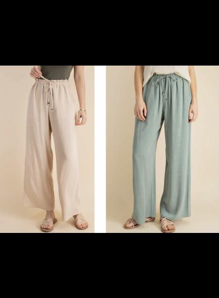 Soft Washed Linen Fabric Elastic Waist Band Flare Wide Leg