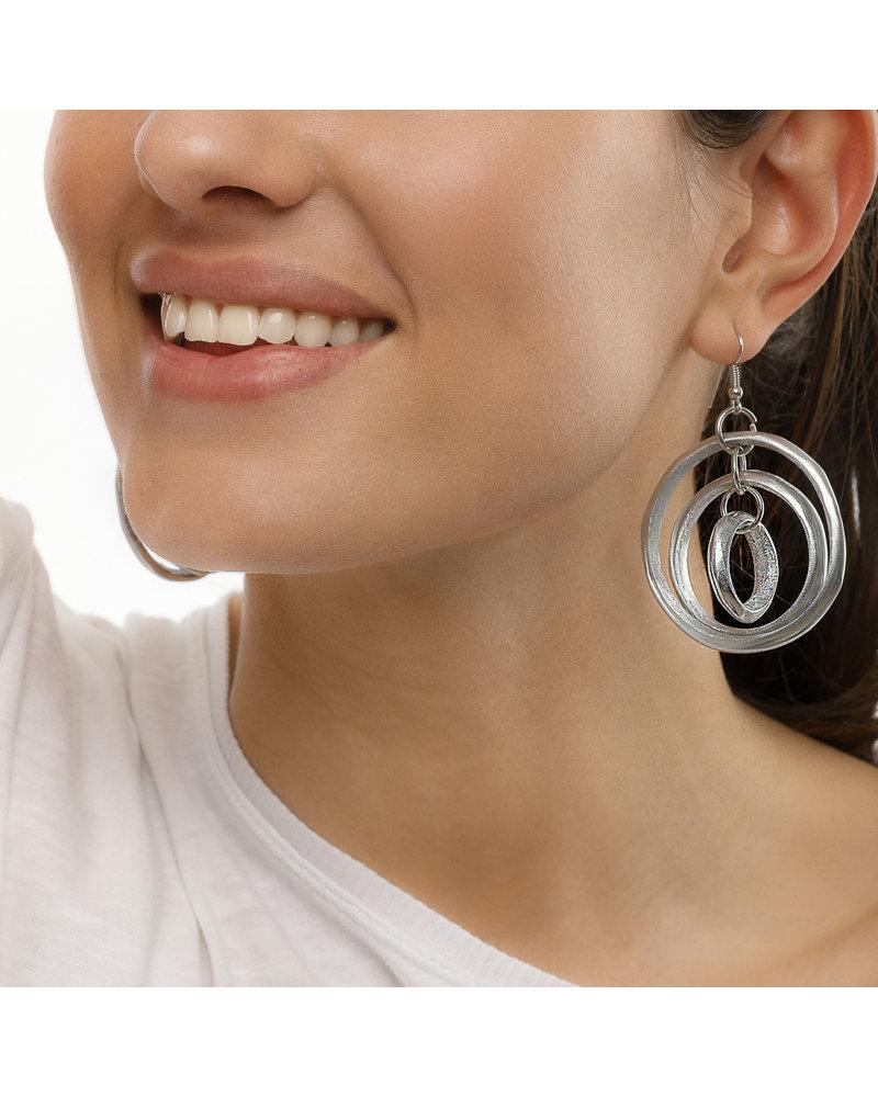 AL17332 - EARRINGS 3 RONDE ET 3 ANNEAUX