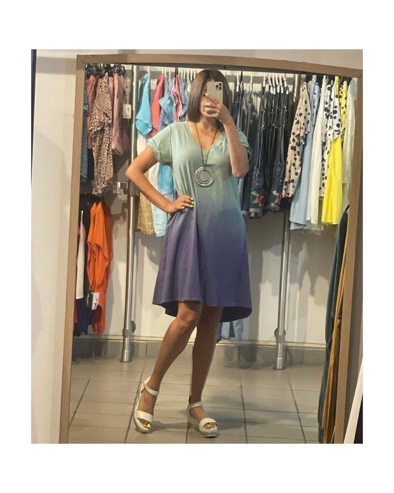 Small Dip Dye V-Neck Short Sleeve Raw Edged Detailed Dress
