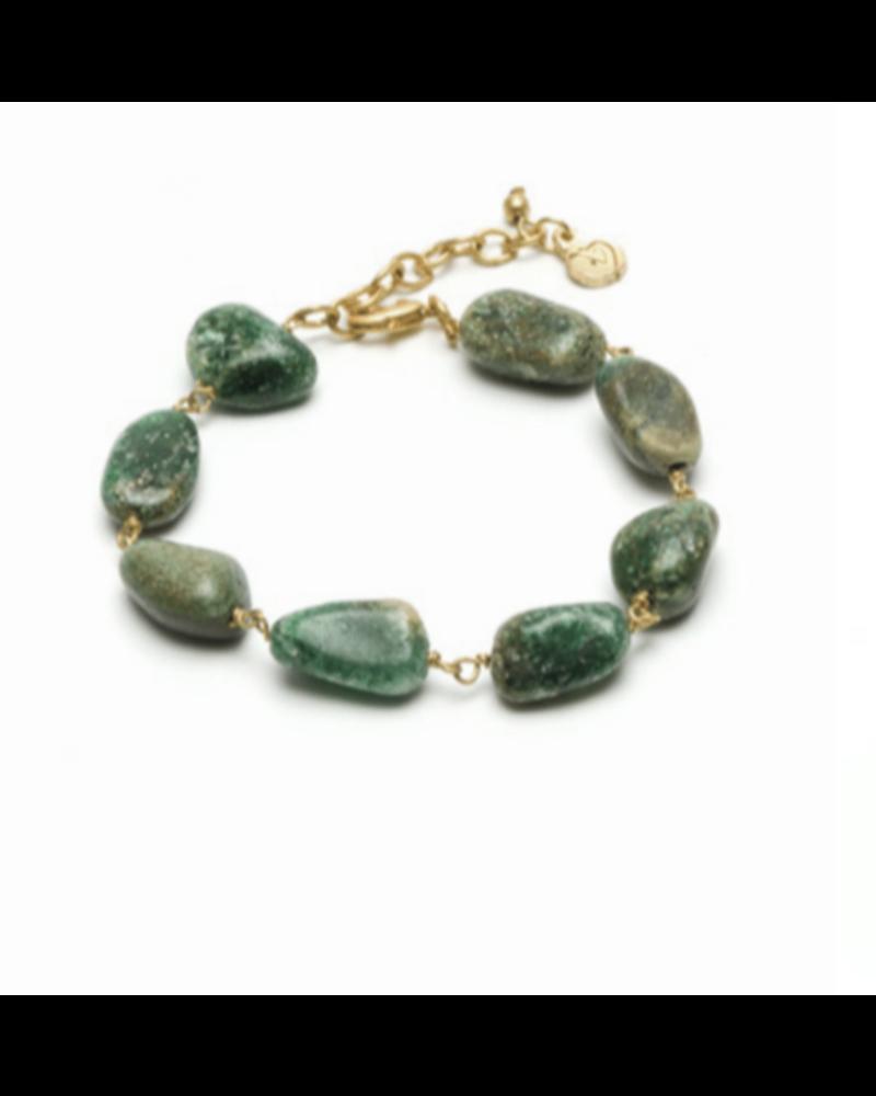 Brazalete piedra agata verde