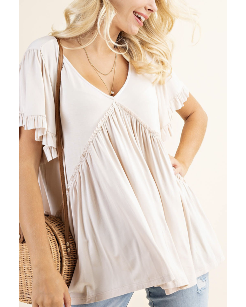 BELL SLEEVE WITH RUFFLE JERSEY TOP almond