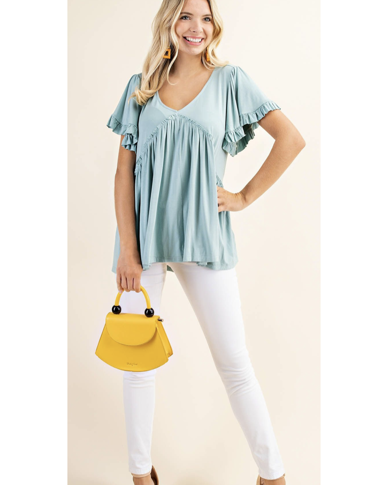 BELL SLEEVE WITH RUFFLE JERSEY TOP
