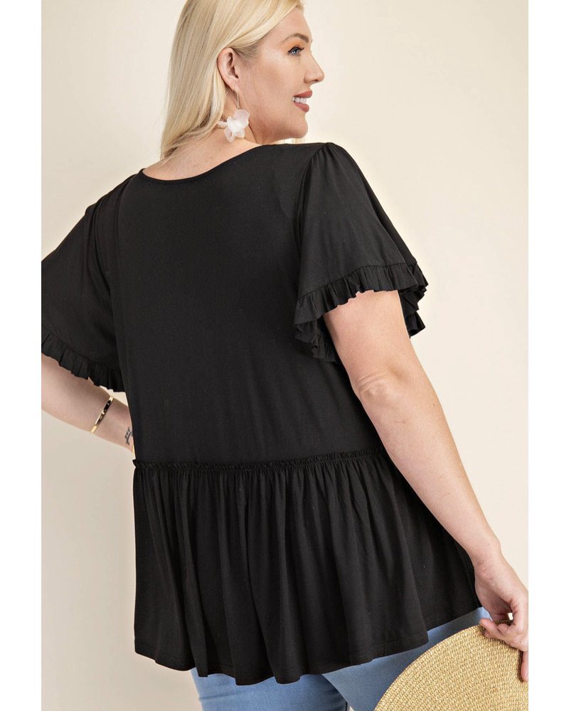 BELL SLEEVE WITH RUFFLE JERSEY TOP black