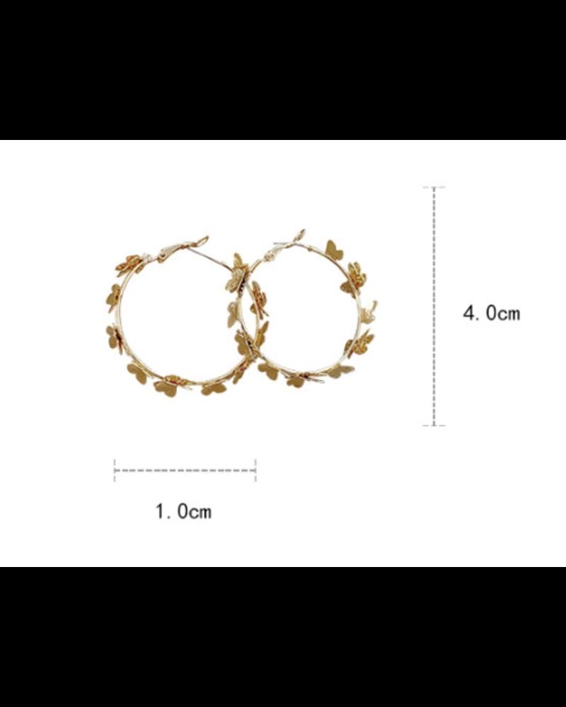 """2"""" Gold Butterfly Earrings"""