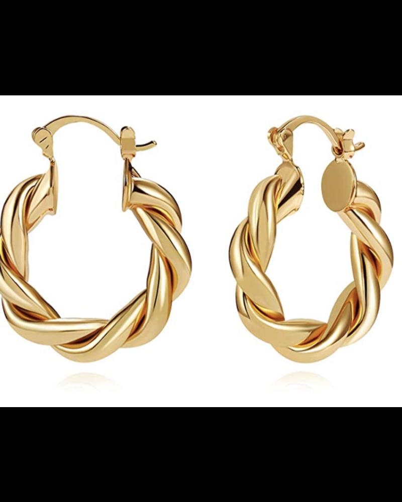 "1"" High Quality Elegant Gold Plated Chunky Hoop Earrings"
