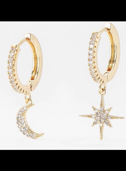 gold/silver Shiny Cubic Zircon Star Moon