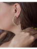C-Shaped Earring Small Pearl Gold Hoop