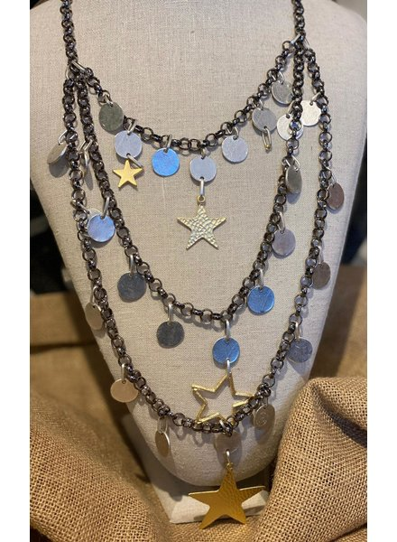 Silver and Gold Plated Star Necklace