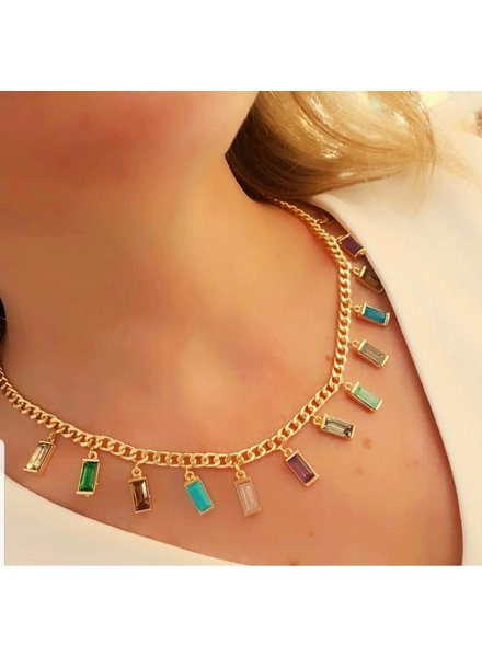 Crystals Gold Plated Neklace