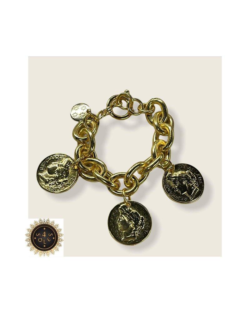 bracelet with coins  4 soles