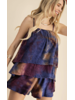 DOUBLE TIERED, TIE-DYE CAMI TOP WITH ADJUSTABLE STRAPS AND MATCHING RELAXED FIT SHORTS WITH ELASTIC WAIST
