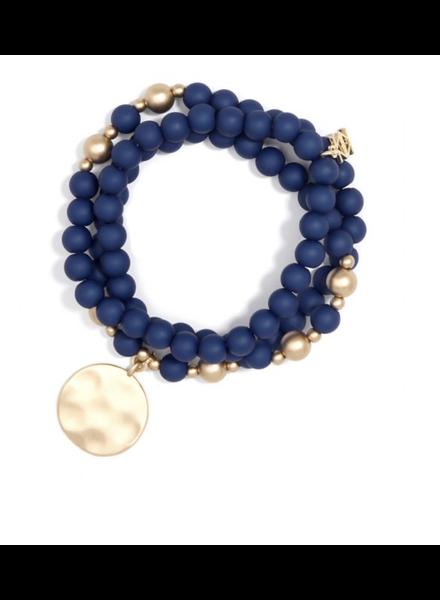 Navy Matte Beaded Wrap Charm Bracelet Jewelry