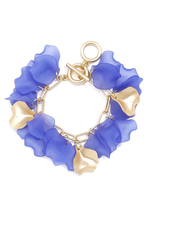 Matte, gold-tone chain bracelet with gold and sheer resin petals.