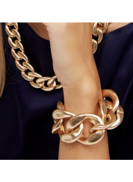 Gold Burnished Large Curb Chain Bracelet Jewelry