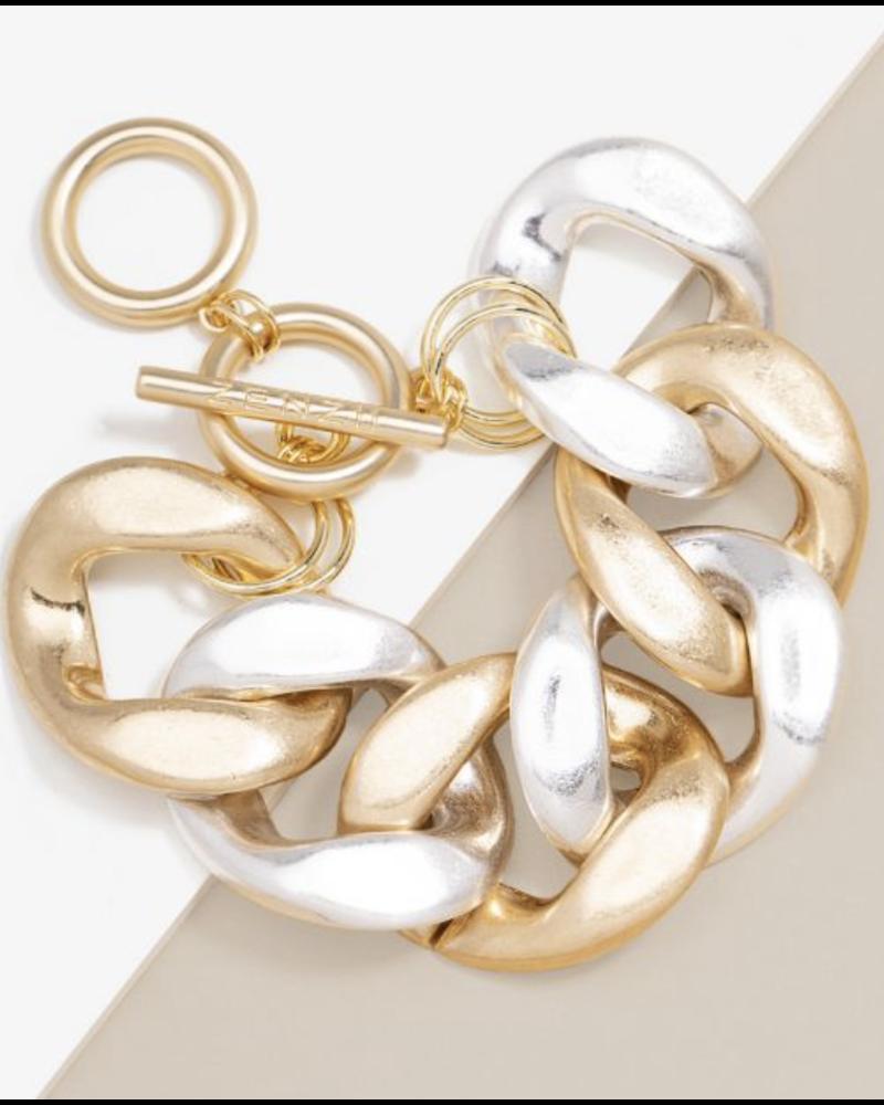 mix Burnished Large Curb Chain Bracelet Jewelr