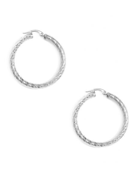 Small Swirled And Frosted Chunky Hoop Earring