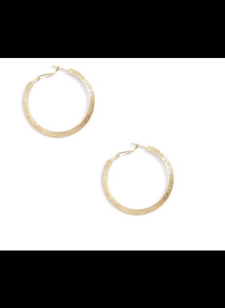 Gold Small Brushed Metal Hoop Earring   Trendy Costume Earrings