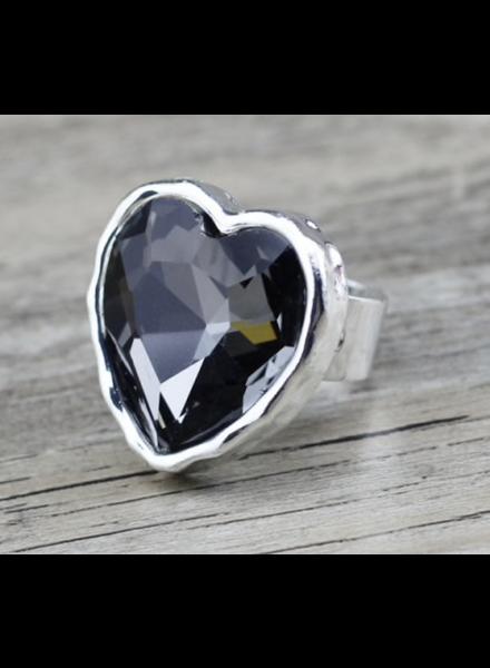 Grey Big Heart Ring adjustable