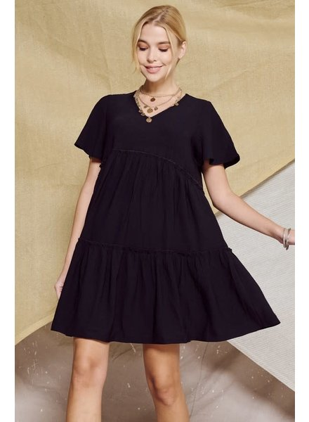 Solid loose-fit babydoll mini woven dress