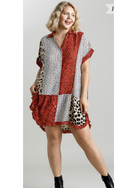 Mixed Animal Print Collared Short Sleeve Dress with Ruffle High Low Hem and Side Slits