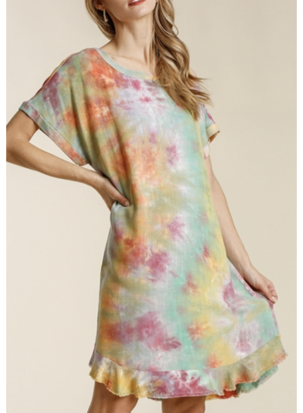 Linen Blend Tie Dye Round Neck Short Folded Sleeve Dress with Keyhole and Frayed Hem