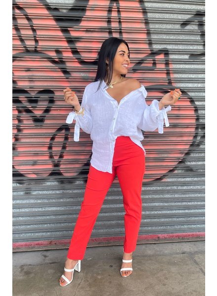 Pull-On Ankle Pants Tomato