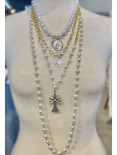 3 Layer Pearl Necklace with Cross