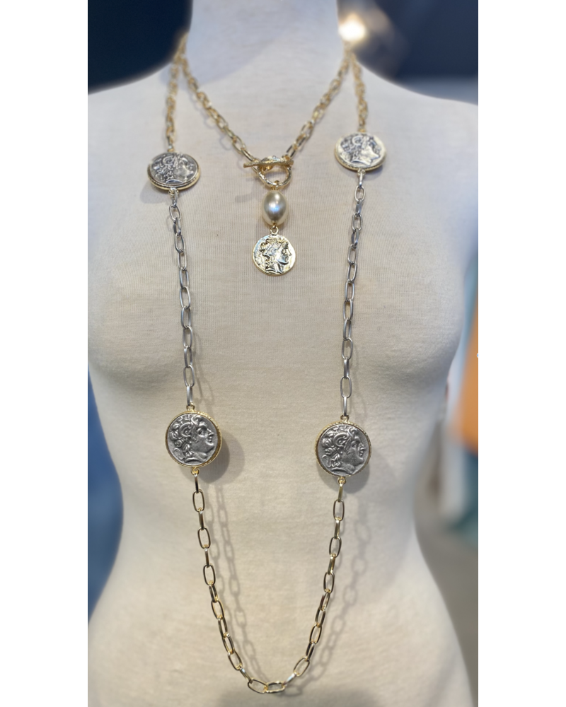 2 Layer Gold Plated Coin Necklace