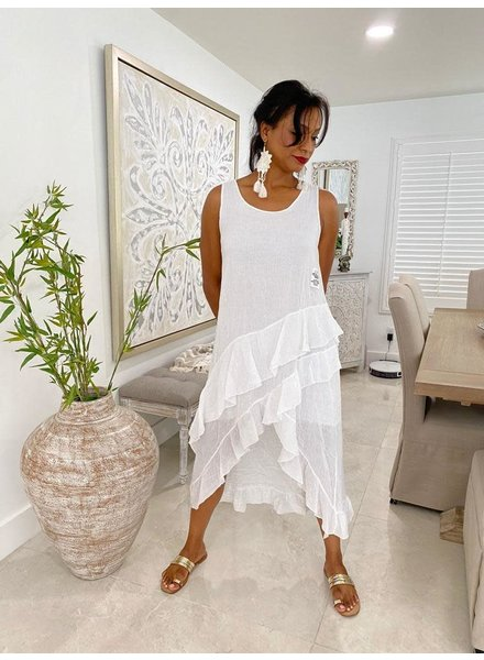 Cotton Dress W Ruffles One Size