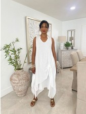 Cotton Dresses No Sleeve One Size