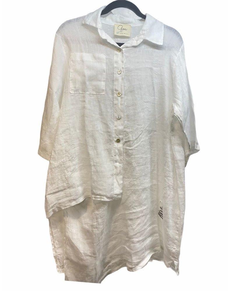 Asymmetrical White Shirt One Size