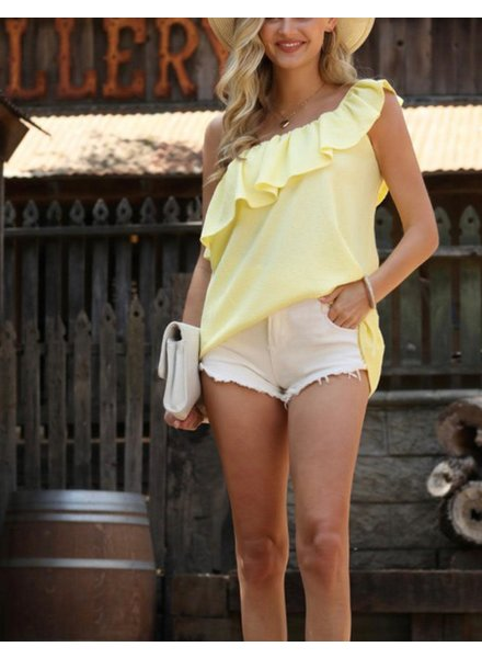 One Shoulder Blouse With Ruffle Light Yellow