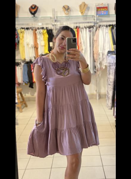 Tiered Textured Cap Sleeve Mini Dress