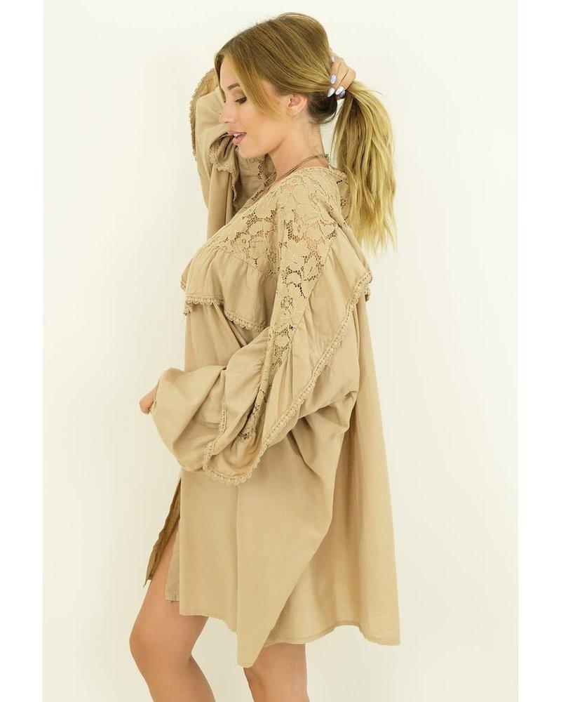 Buttoned Oversized Dress Camel