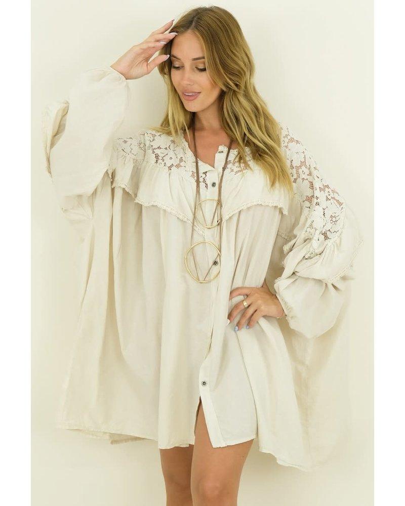 Buttoned Oversized Dress Beige