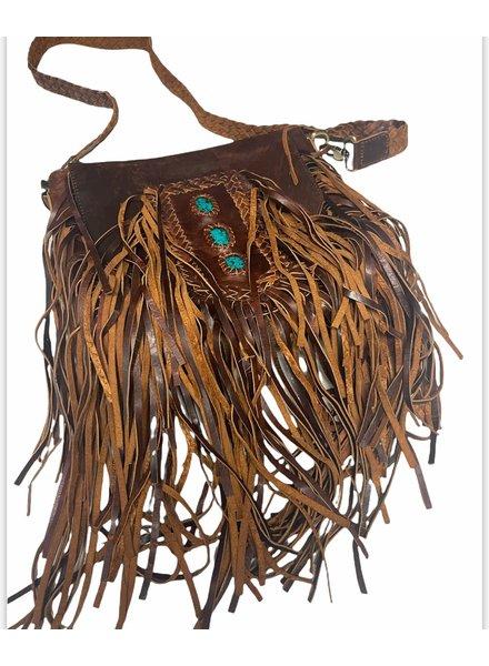 Boho leather Cross Body Bag