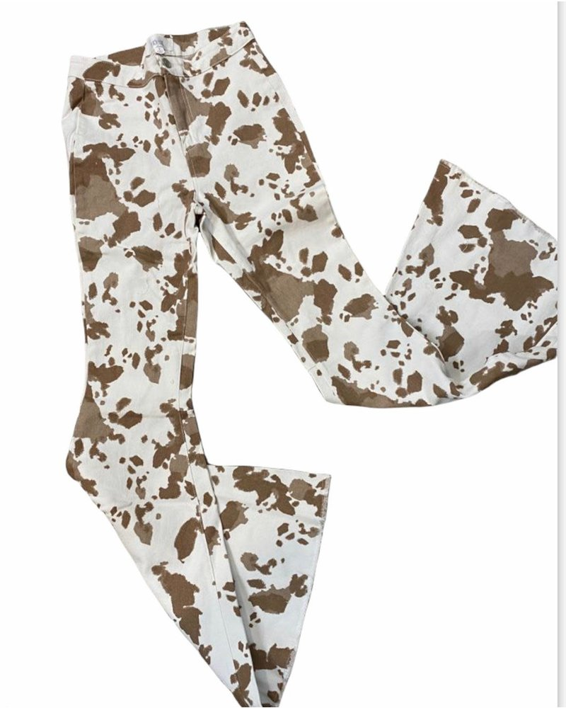 Brown Cow Printed Bell Bottom