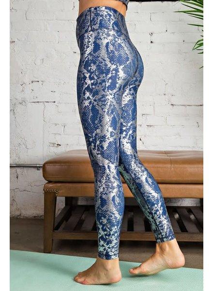 Snake Foil Printed Full Length Leggings  Blue