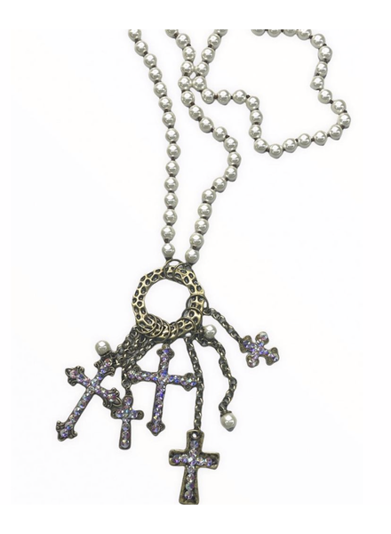 Multi Cross Pearl Long Necklace