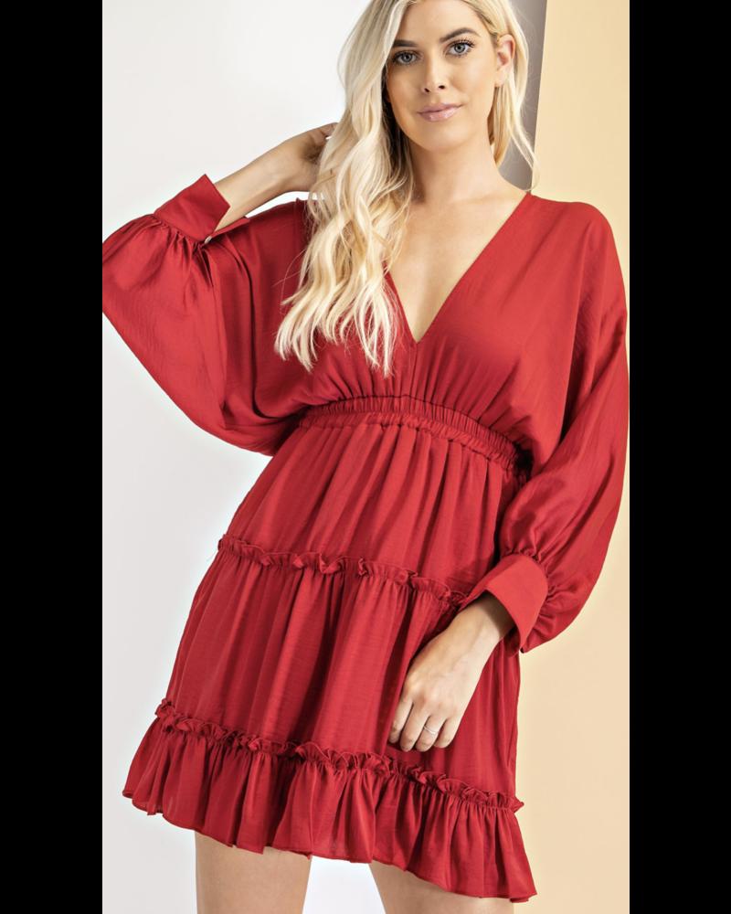 Burgundy  V-Neck Tiered Dress *Tie in the back