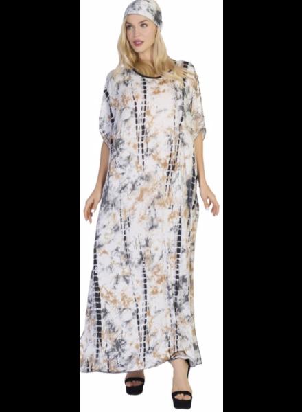 WOMEN'S TIE-DYE PRINT LONG KAFTAN DRESS WITH HEAD WRAP - ONE SIZE