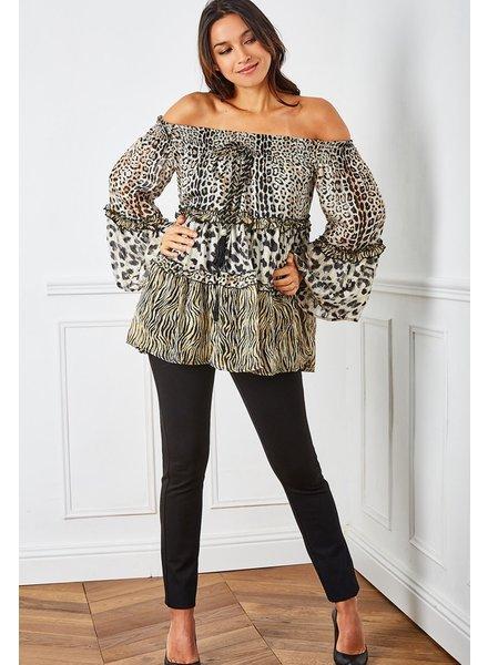 Leopard PrintOff shoulder mini dress/Top  with adorned cord