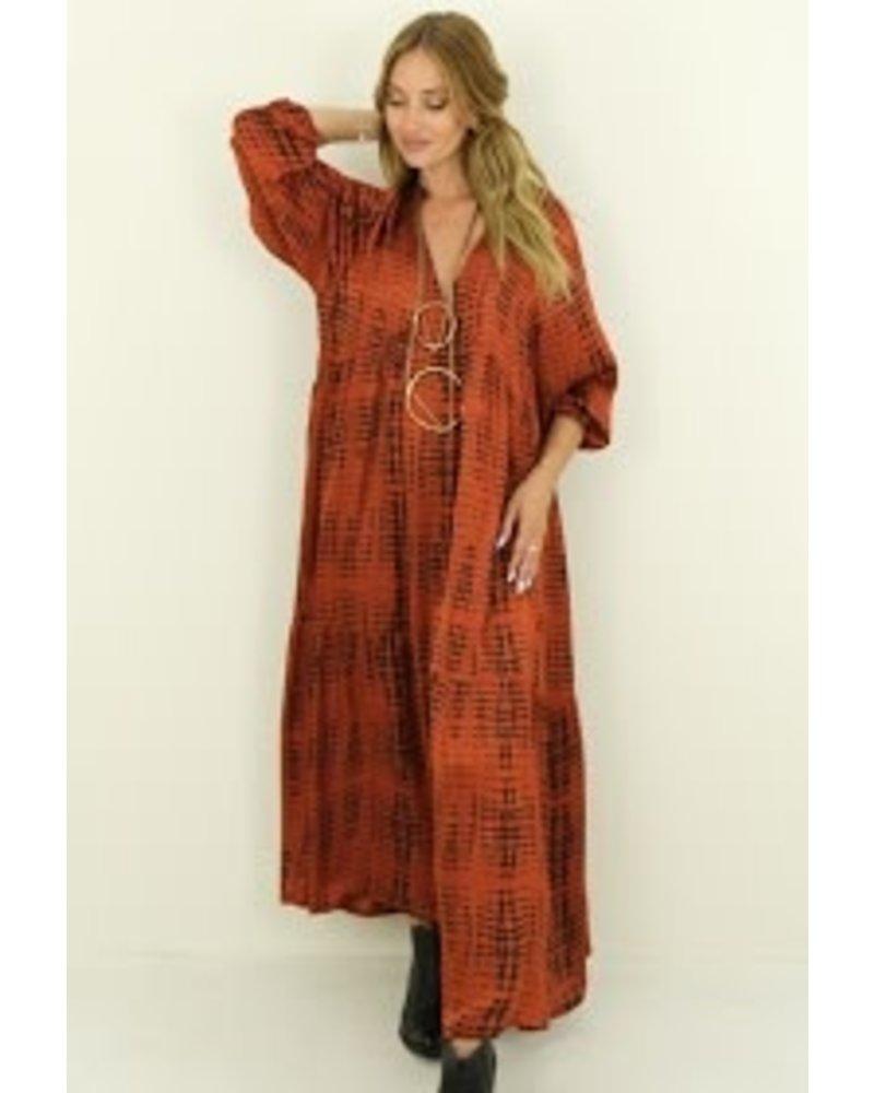 Silk Dress V Neck One size
