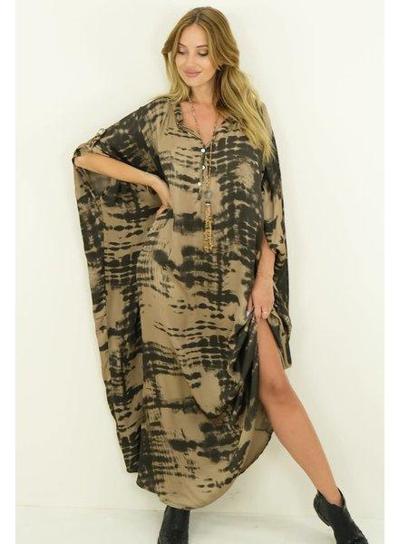 Silk Dress Tie Dye Taupe