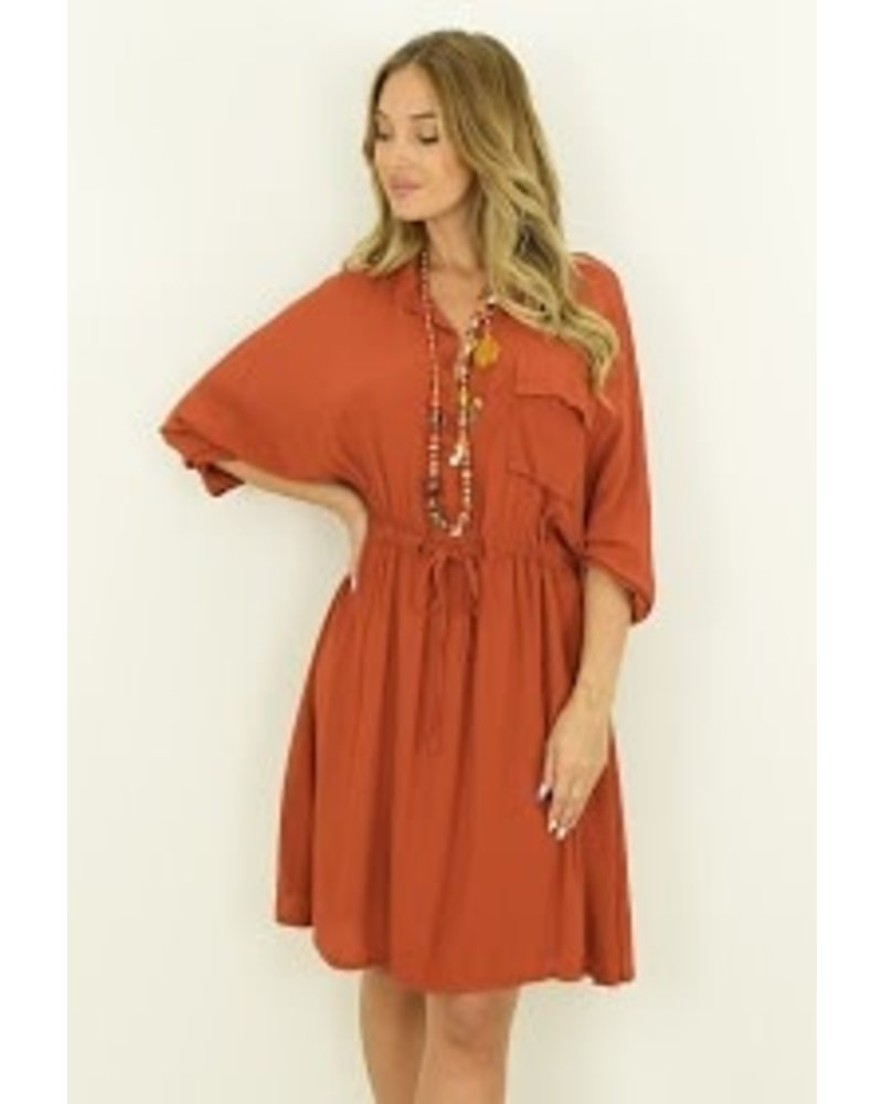 Buttoned Neck Dress - Pocket + Invisible One size