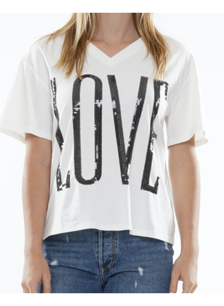 """V neck 'LOVE"""" sequin embroidery t-shirt"""